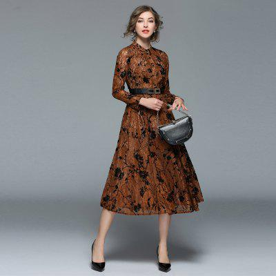 Fashionable Stand Collar Lace DressWomens Dresses<br>Fashionable Stand Collar Lace Dress<br><br>8116609: None<br>Dresses Length: Mid-Calf<br>Elasticity: Nonelastic<br>Embellishment: Lace<br>Fabric Type: Lace<br>Material: Lace<br>Neckline: Stand<br>Package Contents: 1xDress<br>Pattern Type: Solid<br>Season: Spring<br>Silhouette: A-Line<br>Sleeve Length: Long Sleeves<br>Style: Fashion<br>Waist: Natural<br>Weight: 0.4000kg<br>With Belt: Yes