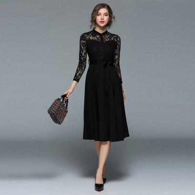 Fashion  Lace Stitching Long-sleeved DressWomens Dresses<br>Fashion  Lace Stitching Long-sleeved Dress<br><br>8115609: None<br>Dresses Length: Mid-Calf<br>Elasticity: Micro-elastic<br>Embellishment: Lace<br>Fabric Type: Lace<br>Material: Polyester, Lace<br>Neckline: Stand<br>Package Contents: 1xDress<br>Pattern Type: Solid<br>Season: Spring<br>Silhouette: A-Line<br>Sleeve Length: Long Sleeves<br>Style: Fashion<br>Waist: Natural<br>Weight: 0.4200kg<br>With Belt: Yes
