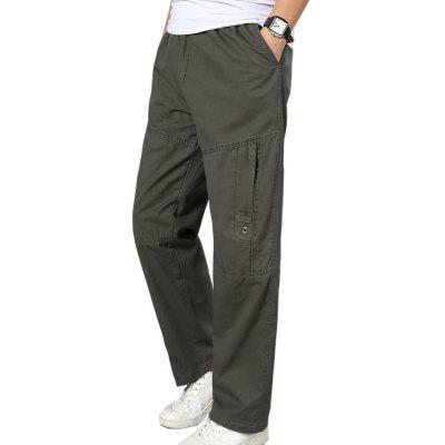Men Cargo Pants Cotton Loose Baggy Elastic Waist Trousers