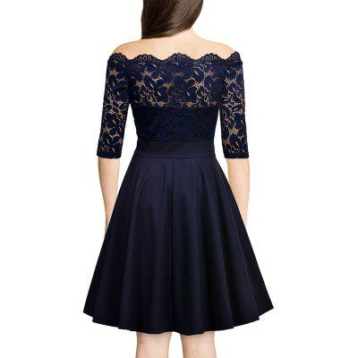 Sexy Lace Off Shoulder Large Casual DressWomens Dresses<br>Sexy Lace Off Shoulder Large Casual Dress<br><br>Dresses Length: Knee-Length<br>Elasticity: Micro-elastic<br>Embellishment: Spliced<br>Fabric Type: Lace<br>Material: Polyester<br>Neckline: Off The Shoulder<br>Package Contents: 1xDress<br>Pattern Type: Solid<br>Season: Summer, Spring<br>Silhouette: A-Line<br>Sleeve Length: 3/4 Length Sleeves<br>Sleeve Type: Off The Shoulder<br>Style: Fashion<br>Waist: Natural<br>Weight: 0.2800kg<br>With Belt: No