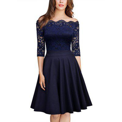 Sexy Lace Off Shoulder Large Casual Dress