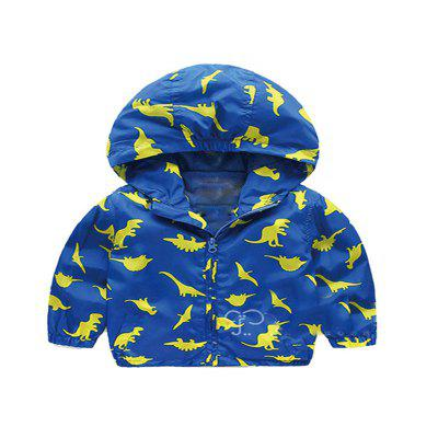Children'S New Cartoon Dinosaur Design Hooded Long Sleeve Coat