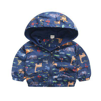 New Baby Animal Pattern Hooded Long Sleeve Coat