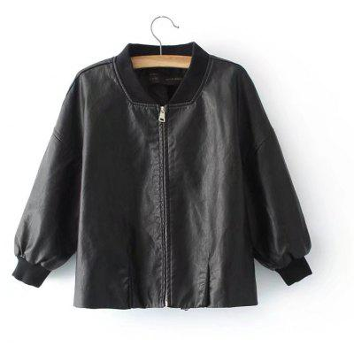 Casual Short Leather Simple PU Jacket