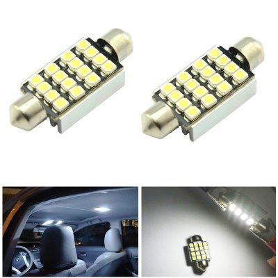 2PCS Festoon 36MM 16LEDs 3528SMD LED Canbus White Car Interior Dome Festoon Light Lamp Bulb DC12V