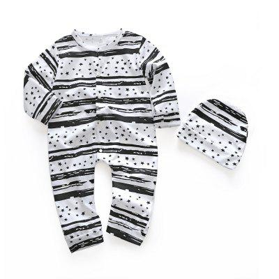 Spring Long Sleeve Pure Cotton Wave Point Cartoon Fringe Cute Baby Clothes With Hats
