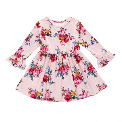 SOSOCOER Girls Dresses Long Sleeved Lace Dress for Pink Flowers