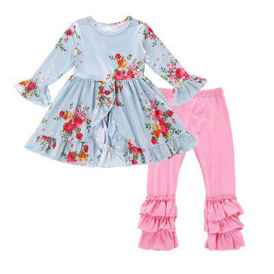SOSOCOER Kids Girls Clothes Set Uzun Kollu Dantelli Elbise ve Pantolon İki Adet S