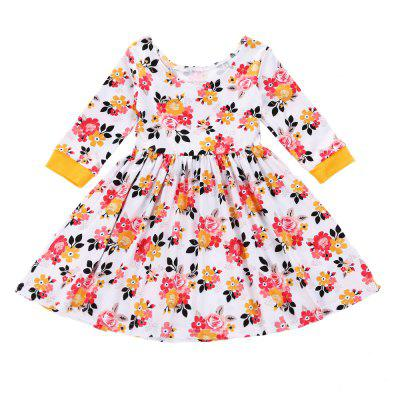 SOSOCOER Girls Dresses Flower Printing Seven Points Sleeves Princess SkirtGirls dresses<br>SOSOCOER Girls Dresses Flower Printing Seven Points Sleeves Princess Skirt<br><br>Brand: SOSOCOER<br>Dresses Length: Knee-Length<br>Embellishment: Pattern<br>Material: Polyester, Cotton<br>Neckline: Round Collar<br>Package Contents: 1 x Dress<br>Pattern Type: Floral<br>Season: Summer, Winter, Spring, Fall<br>Silhouette: A-Line<br>Sleeve Length: 3/4 Length Sleeves<br>Style: Cute<br>Weight: 0.1600kg<br>With Belt: No
