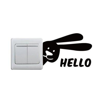 DSU Hello Rabbit Light Switch Sticker Funny Cartoon Rabbit Vinyl Wall DecalWall Stickers<br>DSU Hello Rabbit Light Switch Sticker Funny Cartoon Rabbit Vinyl Wall Decal<br><br>Art Style: Plane Wall Stickers, Toilet Stickers<br>Artists: Others<br>Brand: DSU<br>Color Scheme: Black<br>Effect Size (L x W): 8.4 x 12.3 cm<br>Function: Light Switch Stickers, Decorative Wall Sticker<br>Layout Size (L x W): 8.4 x 12.3 cm<br>Material: Vinyl(PVC)<br>Package Contents: 1 x Wall Sticker<br>Package size (L x W x H): 10.00 x 14.00 x 1.00 cm / 3.94 x 5.51 x 0.39 inches<br>Package weight: 0.0300 kg<br>Product size (L x W x H): 8.40 x 12.30 x 0.01 cm / 3.31 x 4.84 x 0 inches<br>Product weight: 0.0200 kg<br>Quantity: 1<br>Subjects: Fashion,Letter,Cute,Cartoon,Famous,Game<br>Suitable Space: Living Room,Bedroom,Hotel,Kids Room,Entry,Kitchen,Pathway,Door,Corridor,Hallway,Boys Room,Game Room<br>Type: Plane Wall Sticker