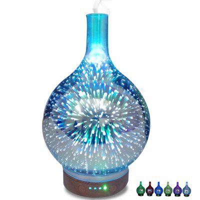 3D Criativo Led Night Light Vidro Madeira Grain Vase Shape Ultrasonic Essential Oil Diffuser