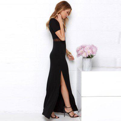 Womens Split Round Neck Patchwork Black Maxi Long DressBodycon Dresses<br>Womens Split Round Neck Patchwork Black Maxi Long Dress<br><br>Dresses Length: Mid-Calf<br>Elasticity: Elastic<br>Fabric Type: Broadcloth<br>Material: Polyester<br>Neckline: Round Collar<br>Occasion: Casual, Business, Singing, Evening<br>Package Contents: 1 x Dress<br>Pattern Type: Solid<br>Season: Spring<br>Silhouette: Straight<br>Sleeve Length: Short Sleeves<br>Style: Bohemian<br>Weight: 0.3000kg<br>With Belt: No