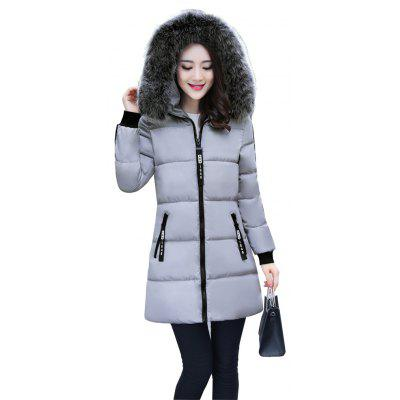 Long Fur Collar and Thick Warm Cotton Overcoat