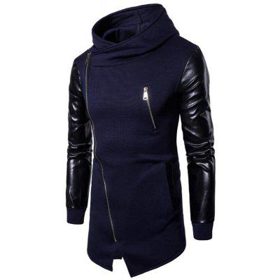 Men's Casual Fashion Zipper PU Stitching Hoodie