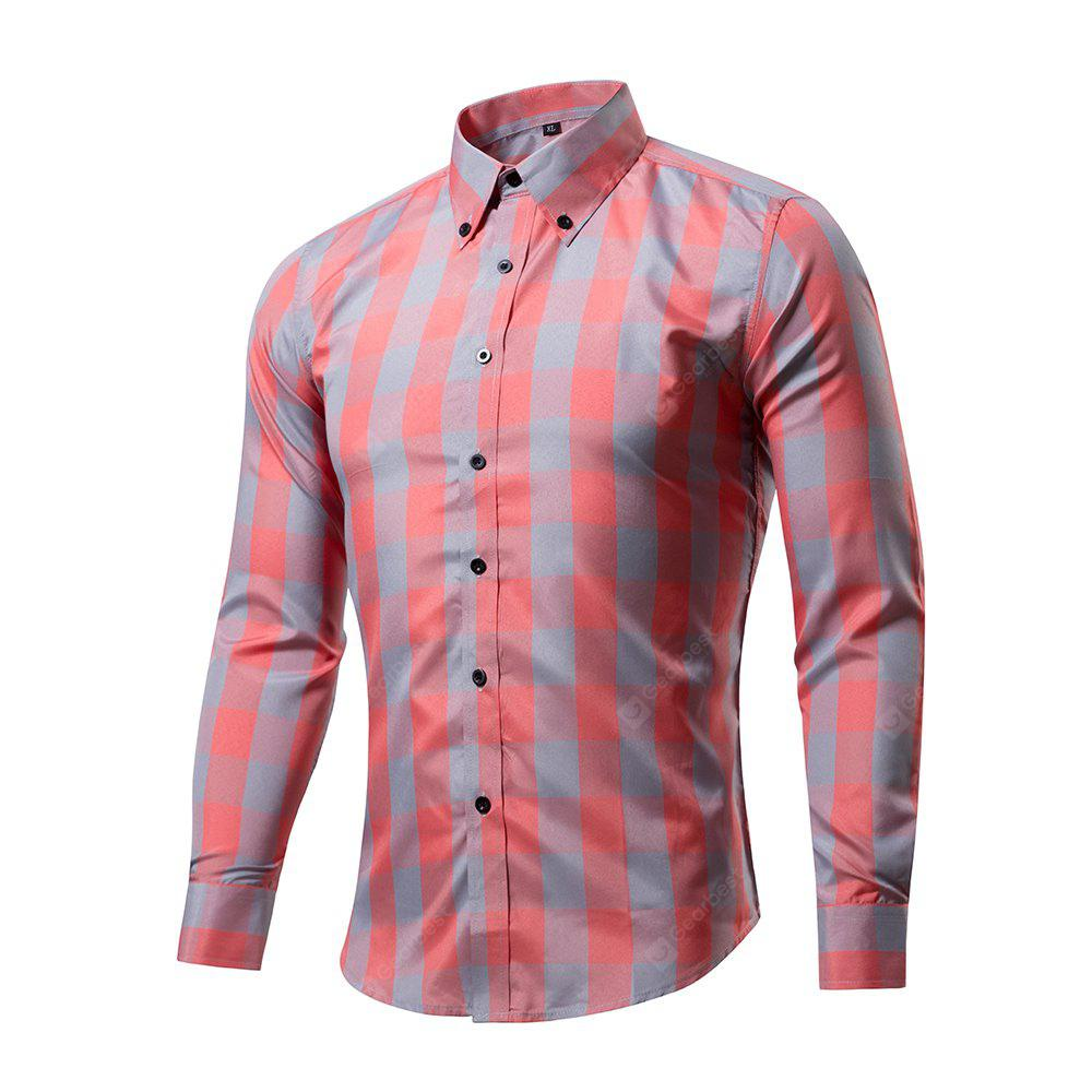 Men's Stylish Casual Button-Down Shirts Plaid Shirt