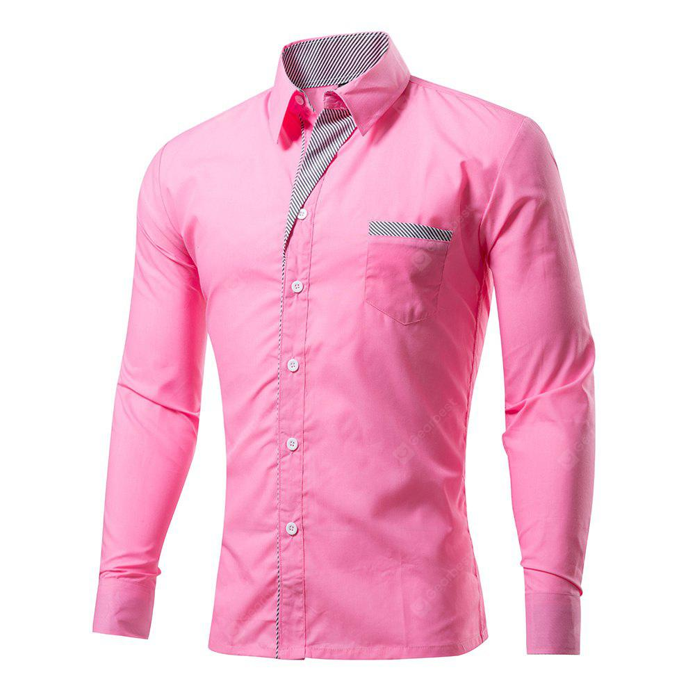 2018 Mens New Cotton Long Sleeve Pure Color Shirts