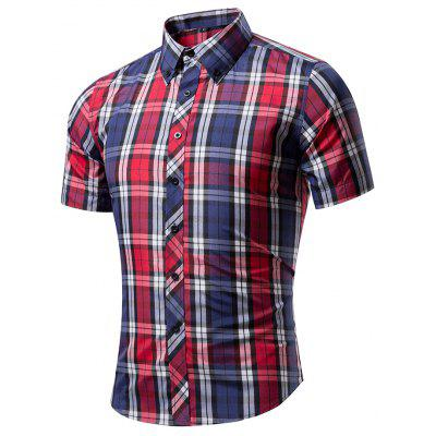 Men'S Short Sleeves Plaid Fleece Shirt