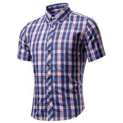 Men's Casual Plaid Snap Front Short Sleeve Shirt
