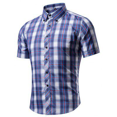 Men's Snap Button Down Plaid Short Sleeve Work Casual Shirt