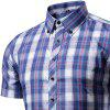Men's Snap Button Down Plaid Short Sleeve Work Casual Shirt - PLAID