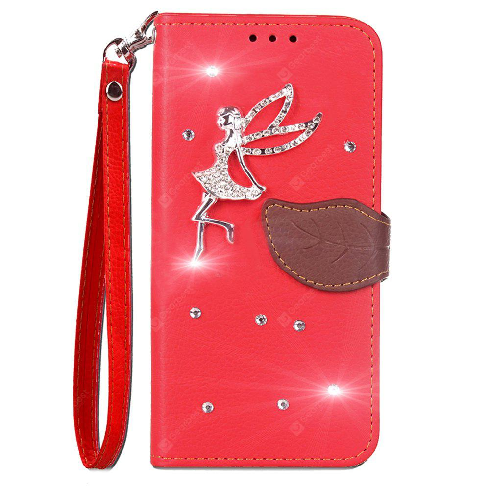 Luxo PU Leather Cover Wallet Phone Case para HOMTOM HT50 diamante Fairy Mobile Phone Shell Case Flip Back Cover