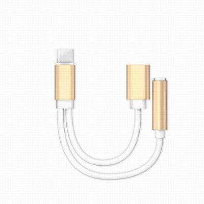 USB Type-C Audio Cable Charger and Music 2 in 1 Type-C to 3.5mm Jack Audio Conversion For Xiaomi Mi6 Letv Le 2 Pro Max- GOLDEN