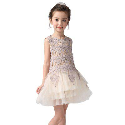 Spring and Summer Children'S Wear Korean Version of The Girl 61 Perform Net Yarn Dress
