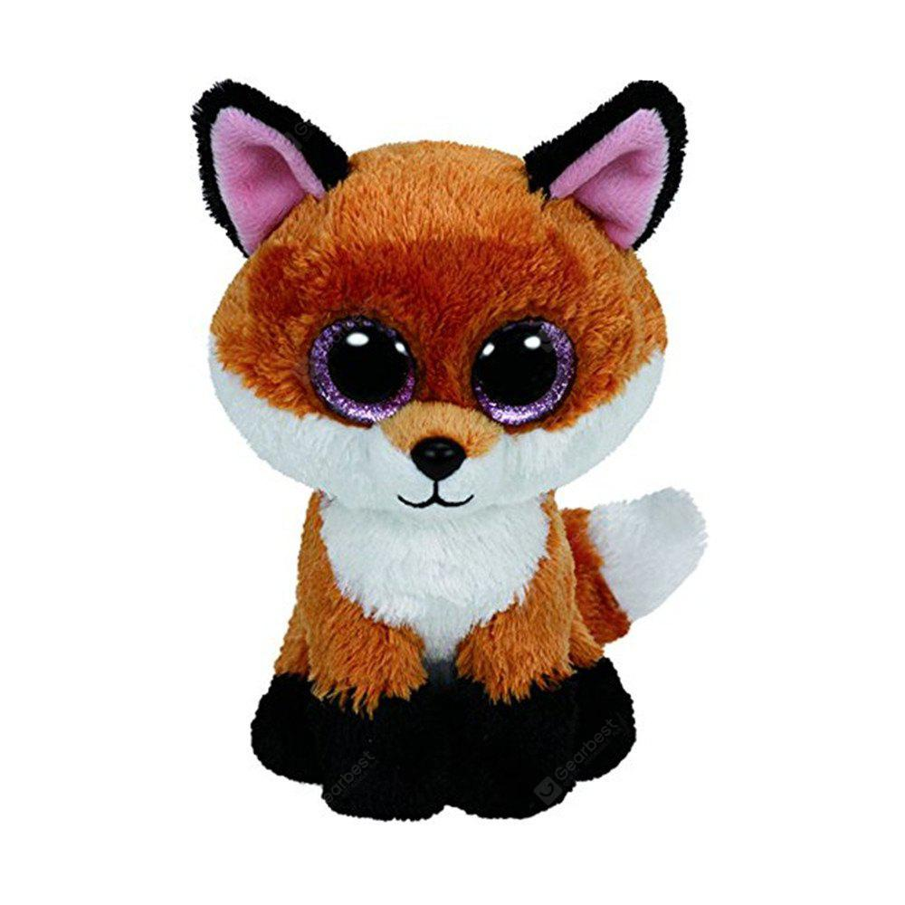 6-Inch Slick Brown Fox Plush Baby Stuffed Doll Collectible Soft  Big Eyes Toy