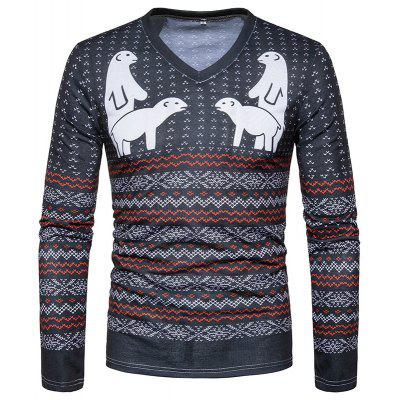 New Wave Stripes Men V Collar Long Sleeved T-Shirt