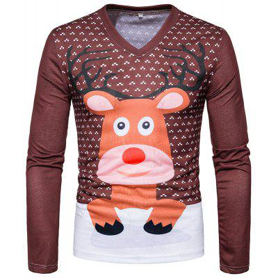 Cartoon Deer Print Men V Collar Long Sleeved T-Shirt