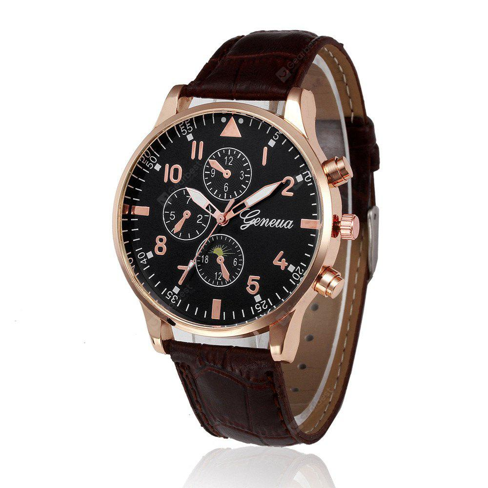 Leather Design Retro Leather Band Luxury Men Business Watch