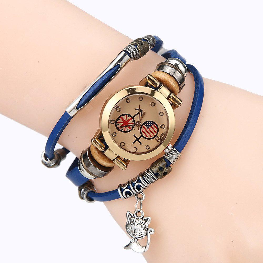Pulseira Feminina Color Block Dial Vintage Style Trendy Watch Accessory