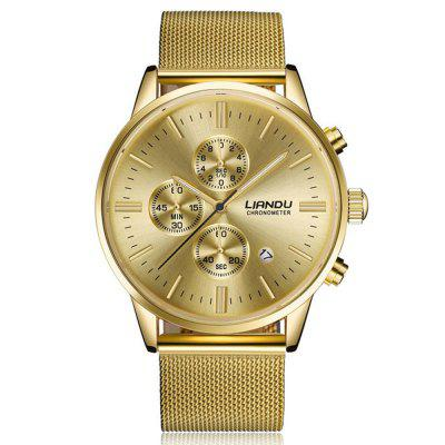 Fashion Men  Luxury Chronograph  Quartz  Simulated Stainless Steel Mesh With Watch
