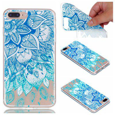 para Iphone 7 Plus Blue Leaves Pintado Soft Clear TPU Phone Casing Mobile Smartphone Cover Shell Case