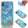para Iphone X Blue Folhas pintadas Soft Clear TPU Phone Casing Mobile Smartphone Cover Shell Case - AZUL