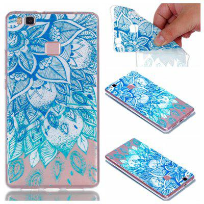 para Huawei P9 Lite Blue Leaves Pintado Soft Clear TPU Phone Casing Mobile Smartphone Cover Shell Case