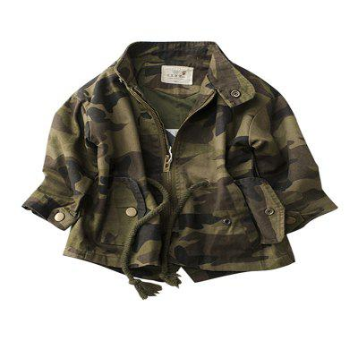Children'S New Camouflage Long Sleeve Hooded Jacket Trench Coat
