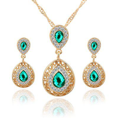2PCS Necklace Crystal Earrings Water Drop Pendant Jewelry