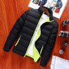 Stand Collar Long Sleeve Solid Color Coat - GREEN + BLACK