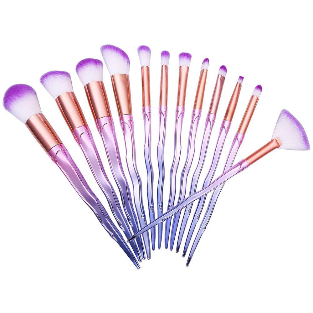 Ombre Color Spiral Screw Wavy Make-up Brushes 12PCS