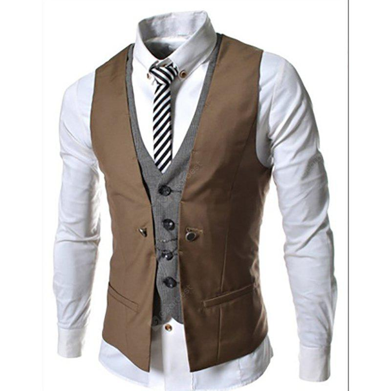 Men's New Lattice Fight Slim Casual Vest Jacket