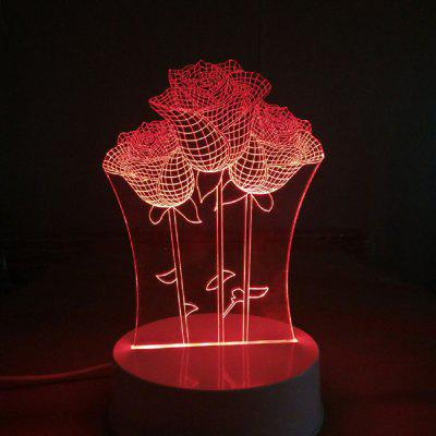 Three Beautiful Roses Shape 3D Flowers Led Light 7 Colors Led Night Desk Lamps for Couples