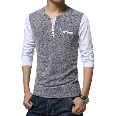 Men's Fashion Patchwork Long Sleeve T Shirt