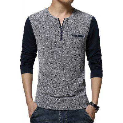 Men's Fashion O Neck Stiching Long Sleeve T Shirt