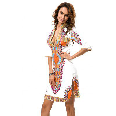Printing V-Neck Open Fork Dress with Short SleevesBodycon Dresses<br>Printing V-Neck Open Fork Dress with Short Sleeves<br><br>Dresses Length: Knee-Length<br>Elasticity: Elastic<br>Fabric Type: Broadcloth<br>Material: Polyester<br>Neckline: Plunging Neck<br>Package Contents: 1xDress<br>Pattern Type: Others<br>Season: Spring, Fall<br>Silhouette: Sheath<br>Sleeve Length: Half Sleeves<br>Style: Fashion<br>Weight: 0.2000kg<br>With Belt: No