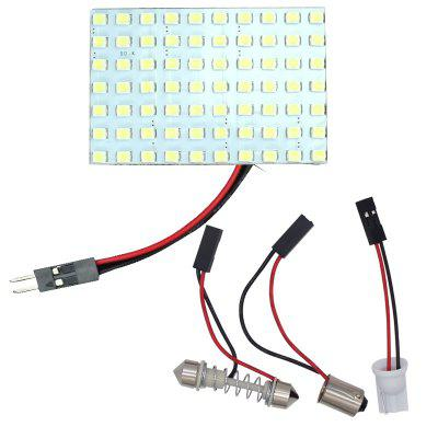 2PCS 70-SMD 1250 White 3528 LED Car Panel Light bulbs Festoon+ BA9S+T10 Top Lamp