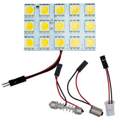 4PCS White Festoon T10 BA9S BA15S 5050 Panel 15-SMD LED Dome Car Interior Light