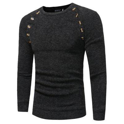 New Men's Button Stitching Solid Color Long Sleeve Knitted Sweater