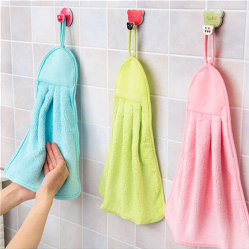 Kitchen Towel Hanging Coral Fleece Super Absorbent Hair Oil Cloth Washing  Cloth Hand Towel Soft Children\'s Hanging Bath Face Wipe Towel
