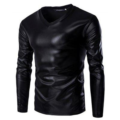 Plus Size Gold Shaping Elasticity T-Shirt for Men Long Sleeves